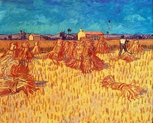 tableaux-de-paysages - Tableau -Champ de blé avec graviers- - Van Gogh, Vincent