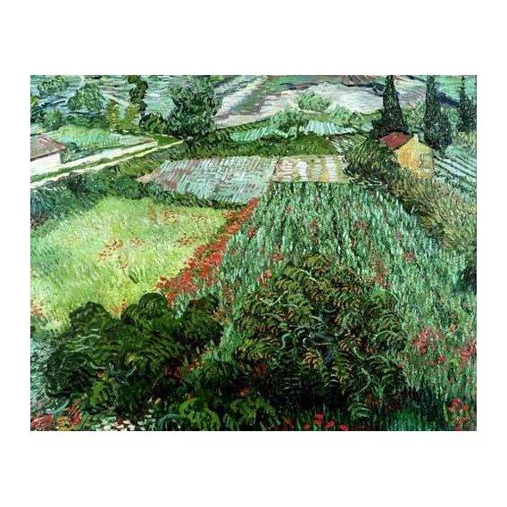 pinturas de paisagens - Quadro -Field with poppies, 1889-