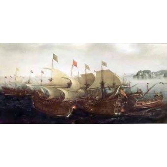 Tableaux de paysages marins - Tableau -Batalla Naval- - Vroom, Hendrick