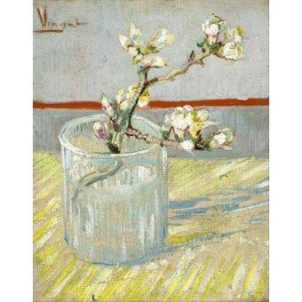Tableau -Branche d'amandier en fleurs dans un verre -