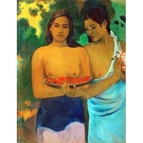 pinturas do retrato - Quadro -Señoras tahitianas II-