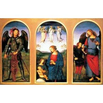 Tableaux religieuses - Tableau -La Virgen y el Niño con los arcángeles Miguel y Rafael- - Perugino, Pietro Vannucci