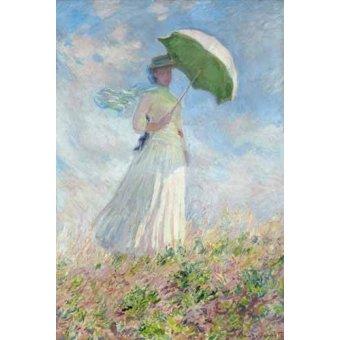 Tableau - Essai de figure en plein-air:Femme à l'ombrelle tournée vers la droite-