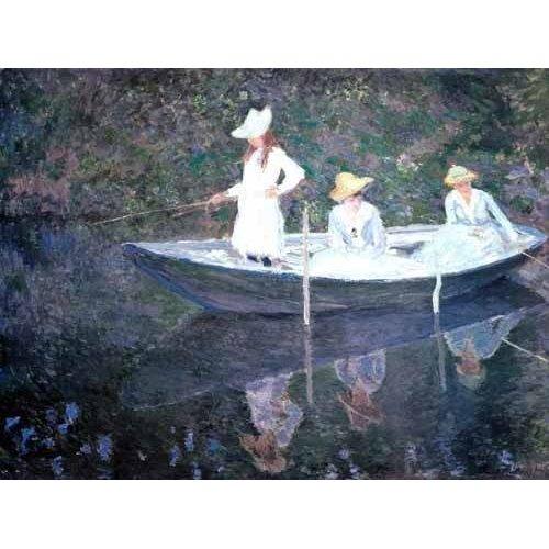 pinturas do retrato - Quadro -In The Norvegienne Boat At Giverny 1887-