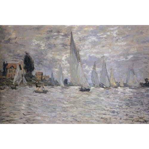 Tableau -Les barques. Régates à Argenteuil-