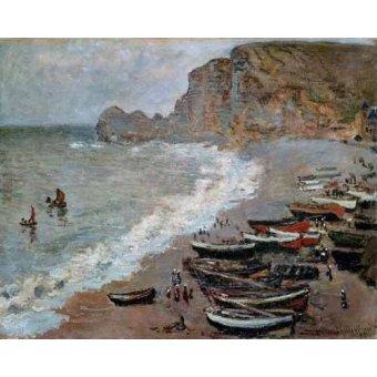 Tableaux de paysages marins - Tableau -Etretat : la plage et la porte d'Amont, 1883- - Monet, Claude