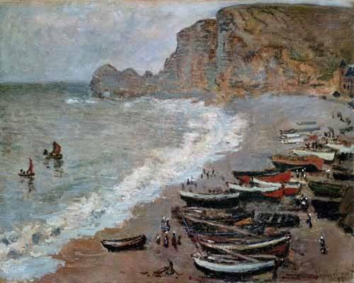 tableaux-de-paysages-marins - Tableau -Etretat : la plage et la porte d'Amont, 1883- - Monet, Claude