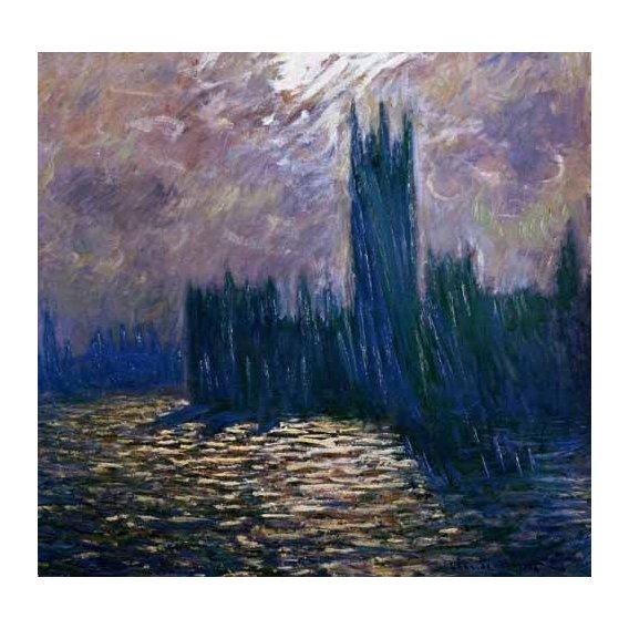 pinturas de paisagens - Quadro -London Parliament, effects on the Thames, 1905-