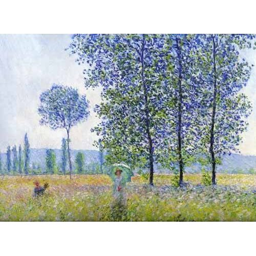 pinturas de paisagens - Quadro -Sunlight effect poplars Sun, 1887-