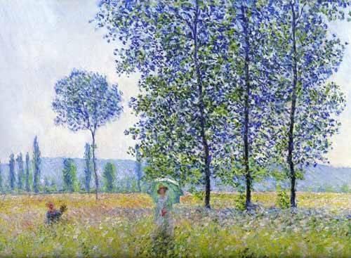 tableaux-de-paysages - Tableau -Sous les peupliers, effet de soleil 1887- - Monet, Claude