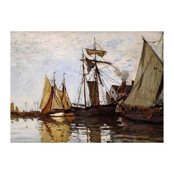 pinturas de paisagens marinhas - Quadro -Pont of Honfleur Sun-