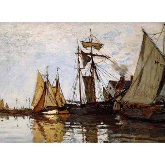 Tableaux de paysages marins - Tableau -Pont de Honfleur Sun- - Monet, Claude