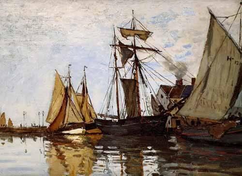 tableaux-de-paysages-marins - Tableau -Pont de Honfleur Sun- - Monet, Claude