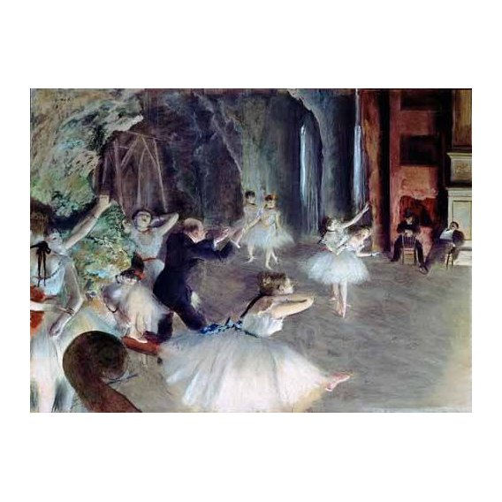 pinturas do retrato - Quadro -The rehearsal of the ballet on stage-