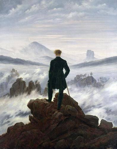 tableaux-de-paysages - Tableau -Le Voyageur contemplant une mer de nuages, 1818- - Friedrich, Caspar David
