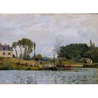 Tableaux de paysages marins - Tableau -Boats at the lock at Bougival, 1873- - Sisley, Alfred