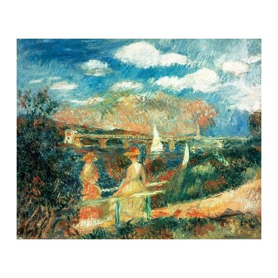 pinturas de paisagens marinhas - Quadro -The Banks of the Seine at Argenteuil, 1880-