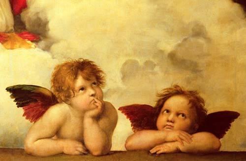 tableaux-religieuses - Tableau -Les deux anges- - Raphaël, Sanzio da Urbino Raffael