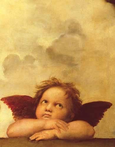 tableaux-religieuses - Tableau -Les deux anges (détail de l'ange droit)- - Raphaël, Sanzio da Urbino Raffael