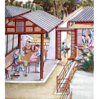 Tableaux orientales - Tableau -Despacho de un comerciante de telas- - _Anónimo Chino