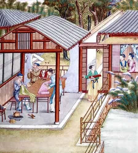 tableaux-orientales - Tableau -Despacho de un comerciante de telas- - _Anónimo Chino