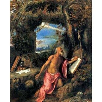 Tableaux religieuses - Tableau -San Jerónimo en penitencia- - Tiziano, Tiziano Vecellio