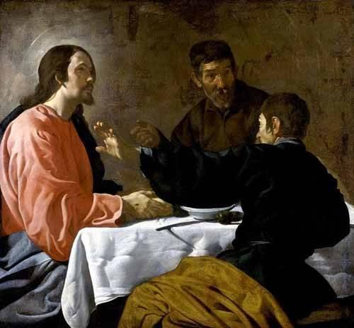 tableaux-religieuses - Tableau -La cena en Emmaus- - Velazquez, Diego de Silva