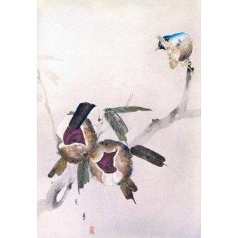 Tableaux orientales - Tableau -Petit oiseau sur une branche de châtaignier- - _Anónimo Chino