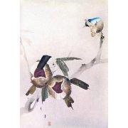 Tableau -Petit oiseau sur une branche de châtaignier-