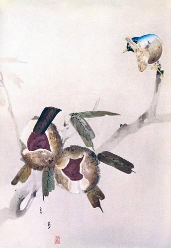 tableaux-orientales - Tableau -Petit oiseau sur une branche de châtaignier- - _Anónimo Chino