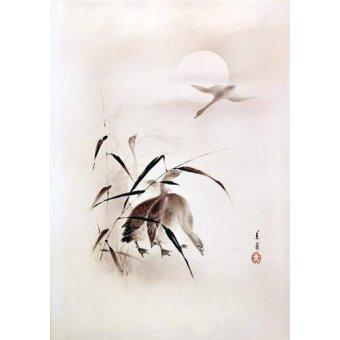 Tableaux orientales - Tableau -Gansos al atardecer- - _Anónimo Chino