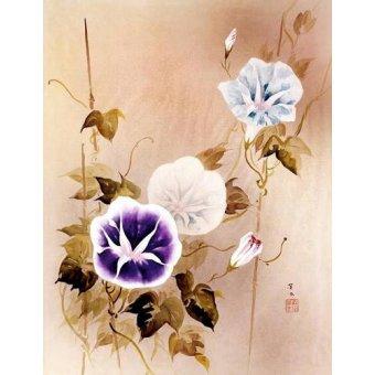 Tableaux orientales - Tableau -Enredadera con flores moradas y azules- - _Anónimo Chino