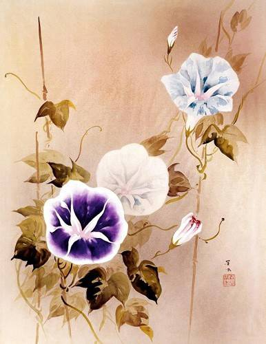 tableaux-orientales - Tableau -Enredadera con flores moradas y azules- - _Anónimo Chino