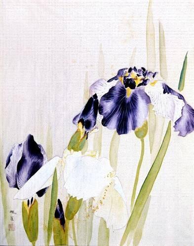 tableaux-orientales - Tableau -Lirios violáceos- - _Anónimo Chino