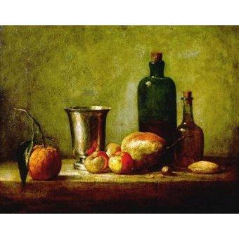 Tableaux nature morte - Tableau -Cubilete de plata, fruta y botellas- - Chardin, Jean Bapt. Simeon