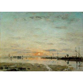 Tableaux de paysages marins - Tableau -Le Havre, coucher de soleil à mer basse- - Boudin, Eugene