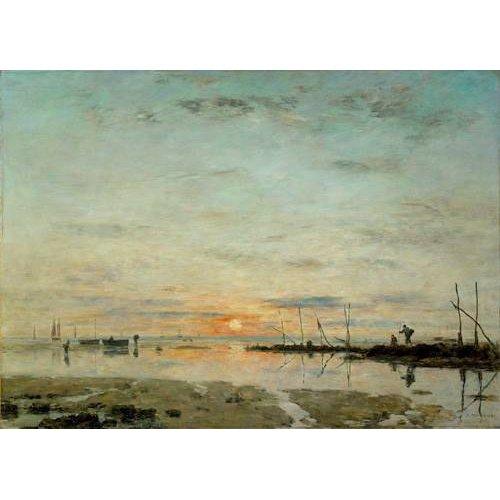pinturas de paisagens marinhas - Quadro -Le Havre, Sunset at low tide-