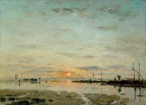 tableaux-de-paysages-marins - Tableau -Le Havre, coucher de soleil à mer basse- - Boudin, Eugene