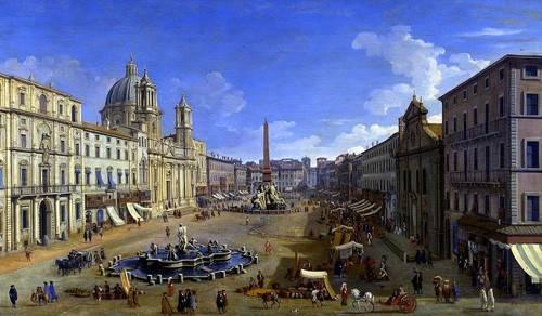 tableaux-de-paysages - Tableau -Roma, vista desde la Piazza Navona- - Canaletto, Giovanni A. Canal