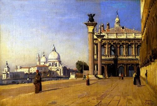 tableaux-de-paysages - Tableau -La mañana en Venecia- - Corot, J. B. Camille