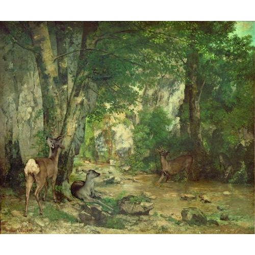 Tableau -A Thicket of Deer at the Stream of Plaisir Fountaine-