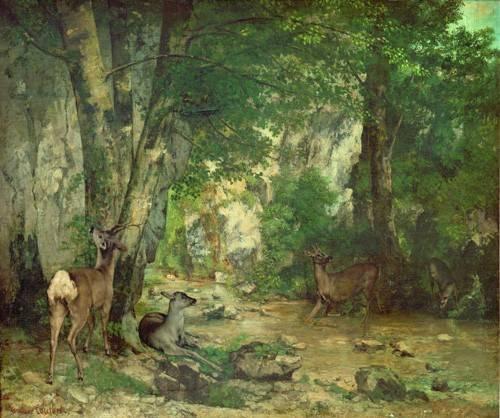 tableaux-de-paysages - Tableau -La Remise de chevreuils au ruisseau de Plaisir-Fontaine- - Courbet, Gustave