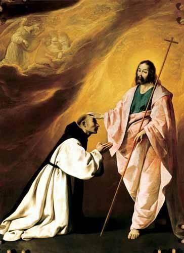 tableaux-religieuses - Tableau -Aparición de Cristo al Padre Salmerón- - Zurbaran, Francisco de