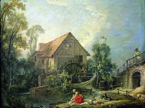 tableaux-de-paysages - Tableau -The Mill, 1751 (oil on canvas)- - Boucher, François