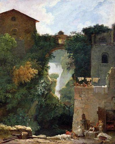 tableaux-de-paysages - Tableau -The Falls of Tivoli (oil on canvas).- - Fragonard, Jean Honoré