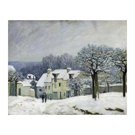 pinturas de paisagens - Quadro -The Place du Chenil at Marly-le-Roi, Snow, 1876-