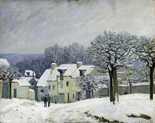 tableaux-de-paysages - Tableau -The Place du Chenil at Marly-le-Roi, Snow, 1876- - Sisley, Alfred