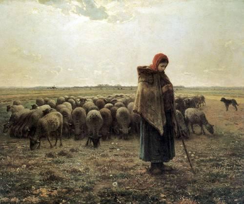 tableaux-de-paysages - Tableau -Bergère avec son troupeau, 1862-1864- - Millet, Jean François