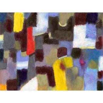 Tableaux abstraits - Tableau -Abstrait _ couple et ville (I) - - Molsan, E.