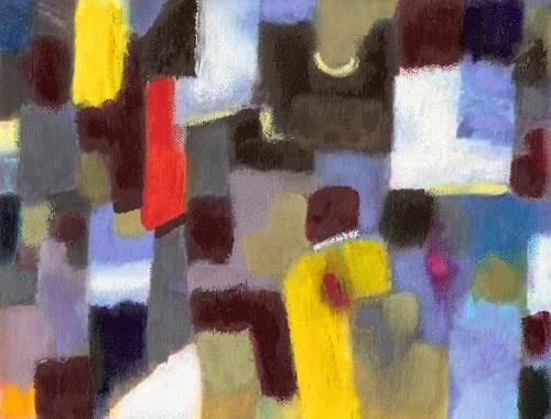 tableaux-abstraits - Tableau -Abstrait _ couple et ville (I) - - Molsan, E.